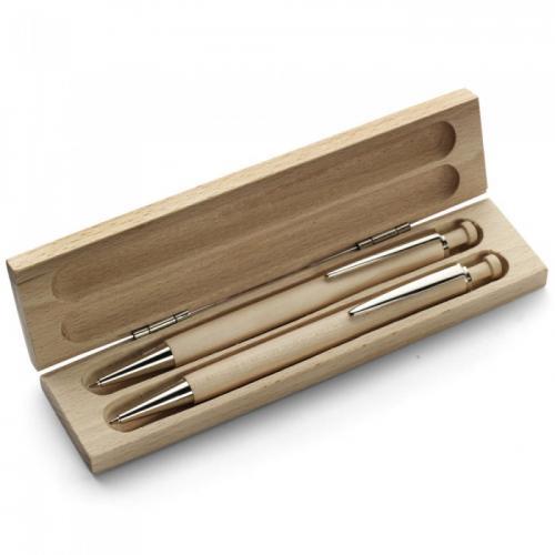 Ручки - Набор для письма (шариковая ручка + карандаш) в деревянном футляре (0195574111)