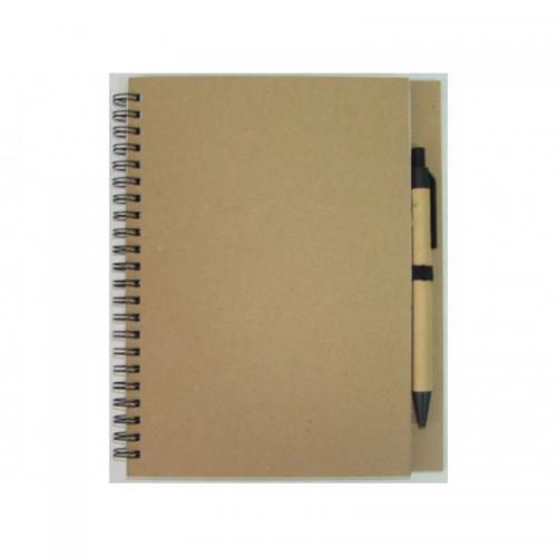 Блокноты - Блокнот Эко А5 формат, 48 листов, спираль сбоку с авторучкой (7535)