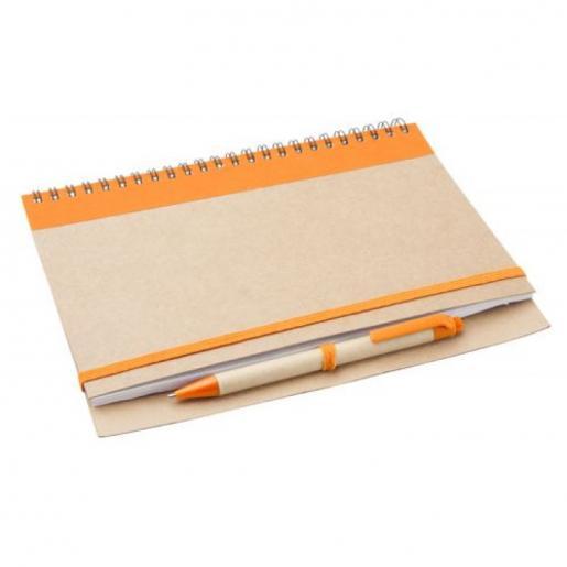 Блокноты - Блокнот Эко А5 формат, 60 листов, спираль сбоку с авторучкой (AP791049)