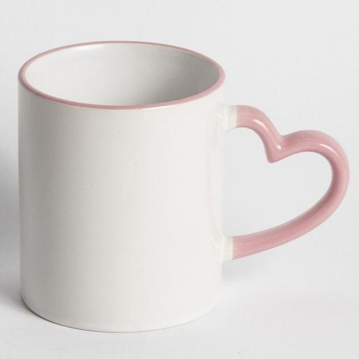 Под сублимацию - Чашка сублимационная белая с цветным ободком и ручкой в виде сердца (052042)