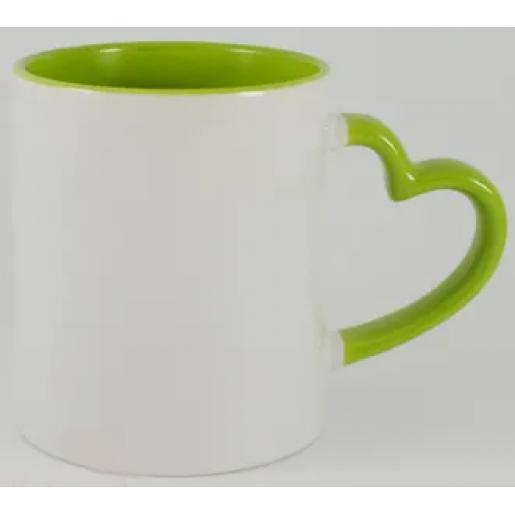 Под сублимацию - Чашка сублимационная белая с цветной серединкой и ручкой в виде сердца (05М20)