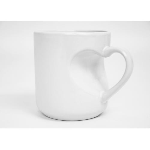 Под сублимацию - Чашка сублимационная с ручкой в виде сердца, белая (052020)
