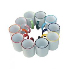 Чашка сублимационная, белая, 330 мл с цветным ободком и ручкой (052041)