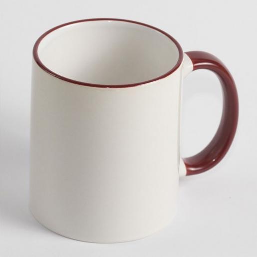 Под сублимацию - Чашка сублимационная, белая, 330 мл с цветным ободком и ручкой (052041)