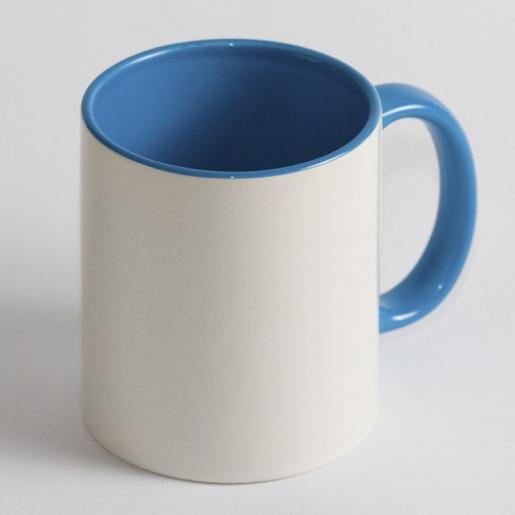 Под сублимацию - Чашка сублимационная, белая, 330 мл с цветной серединкой и ручкой (052040)