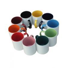 Чашка сублимационная, белая, 330 мл с цветной серединкой и ручкой (052040)